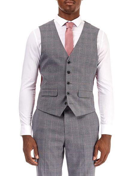 waistcoat grey Burton check bold pink Light and muscle fit q788npUZx5