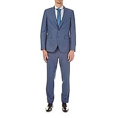 Burton - Blue sharkskin slim fit suit jacket