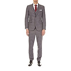 Burton - Grey and black checked slim fit suit jacket