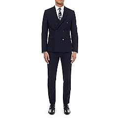 Burton - Navy textured double breasted slim fit suit jacket