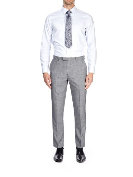Light slim grey Burton trousers fit suit textured T6WwWpndq