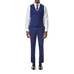 Burton - Bright blue slim fit micro grid waistcoat