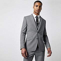 Burton - Grey Textured Puppytooth Slim Fit Suit Jacket