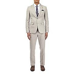 Burton - Beige textured slim fit suit jacket