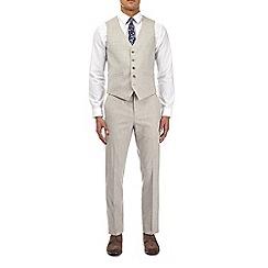 Burton - Beige textured slim fit waistcoat