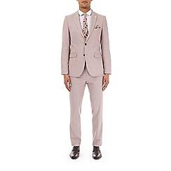 Burton - Pale pink slim fit textured suit jacket