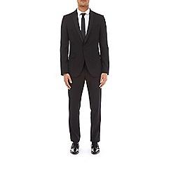 Burton - Black twill slim fit tuxedo suit jacket