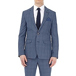 Burton - Blue bold checked slim fit suit jacket