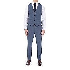 Burton - Blue bold checked slim fit waistcoat