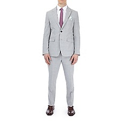 Burton - Grey and pink checked slim fit suit jacket