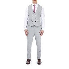 Burton - Grey and pink check slim fit waistcoat