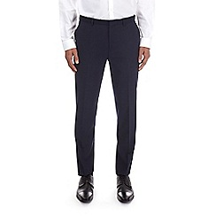 Burton - Navy textured tailored fit trousers