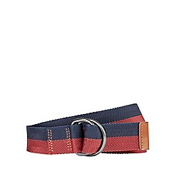 Burton - Navy and burgundy d-ring belt