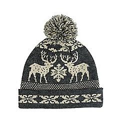Burton - Grey fairisle bobble beanie hat