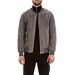 Burton - Montague burton grey real suede bomber jacket