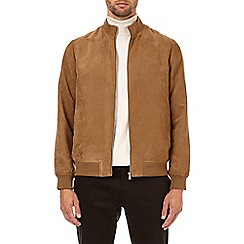 Burton - Tan suedette funnel neck jacket