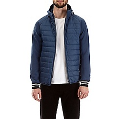 Burton - Blue hooded padded jacket with neoprene sleeves