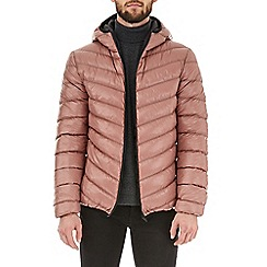Burton - Pink taupe glacier quilted hooded jacket