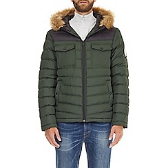 Burton - Green two tone lightweight hooded puffer jacket