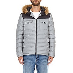 Burton - Silver two tone lightweight hooded puffer jacket