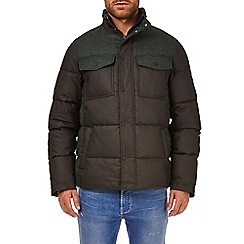 Burton - Khaki textured colourblock funnel neck padded jacket