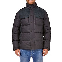 Burton - Navy textured colourblock funnel neck padded jacket
