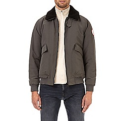Burton - Grey borg collared padded bomber jacket