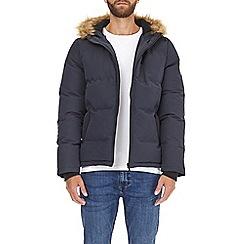 Burton - Navy birch faux fur hooded puffer jacket
