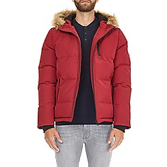 Burton - Red birch fur hooded padded jacket