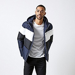 Burton - Navy colourblock padded jacket