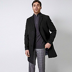 Burton - Black Three Button Faux Wool Overcoat