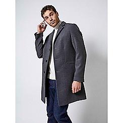 Burton - Charcoal three button faux wool overcoat