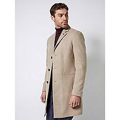 Burton - Oatmeal three button faux wool overcoat