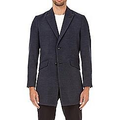 Burton - Blue faux wool chesterfield overcoat