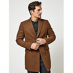 Burton - Brown faux wool chesterfield overcoat