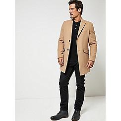 Burton - Camel faux wool chesterfield overcoat