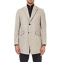 Burton - Grey faux wool chesterfield overcoat