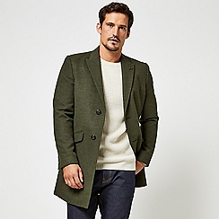 Burton - Khaki faux wool chesterfield overcoat