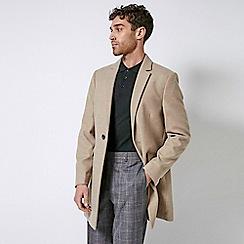 Burton - Oatmeal Marl One Button Faux Wool Overcoat