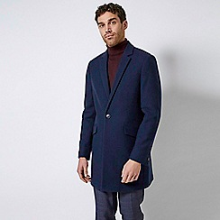 Burton - Navy Twill One Button Faux Wool Overcoat