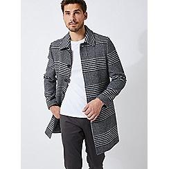 Burton - Grey dogtooth wool mac car coat
