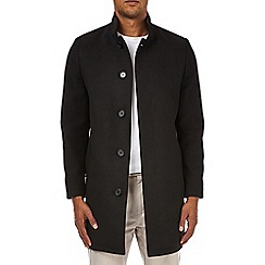Burton - Black faux wool funnel neck coat