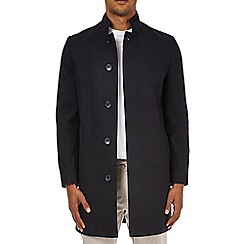 Burton - Navy faux wool funnel neck coat