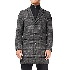 Burton - Grey large check faux wool chesterfield overcoat