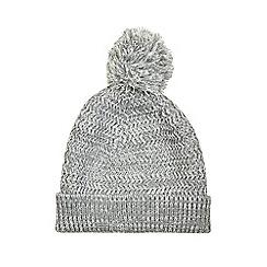 Burton - Grey textured knit bobble beanie hat