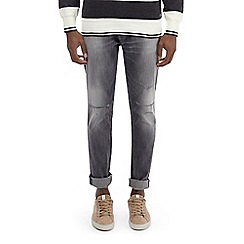 Burton - Grey distressed carter tapered fit jeans