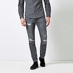 Burton - Light Grey Ripped Skinny Fit jeans