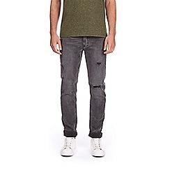 Burton - Grey wash distressed slim fit jeans