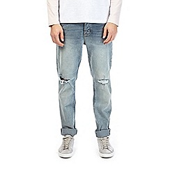 Burton - Mid blue salt and pepper ripped slim fit jeans