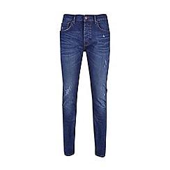 Burton - Mid blue distress super skinny fit jeans
